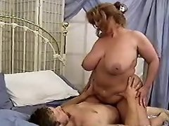 Mature BBW gets cum on huge boobs