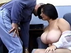 Brunette plumper throats hard cock