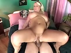 Chubby blonde gets cum on big tits